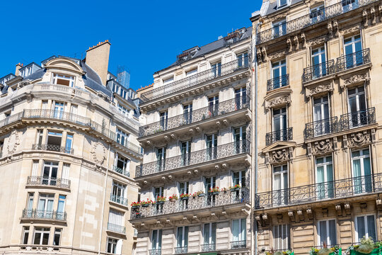 Paris, typical building boulevard Haussmann, in a luxury district