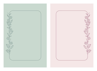 Ramki z wzorem roślinnym w prostym stylu z listkami i kwiatami - romantyczny, kobiecy wzór na zaproszenia ślubne, życzenia urodzinowe, kartki, tło dla social media stories. Ilustracja wektorowa.