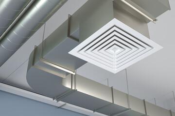 Industrial air duct ventilation, 3d illustration