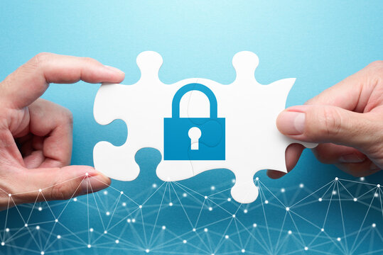 Security of communication. Two hands connecting jigsaw puzzle pieces. Illustration of padlock and network.
