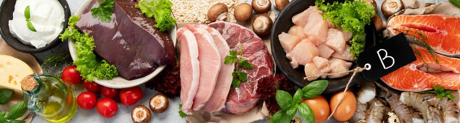 Fototapeta Food high in vitamin B on light gray background. obraz