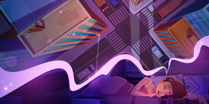Young woman sleeping on bed seeing dream night city top view. Girl sleep in dark night room, dormant female character lying under blanket nap at home bedroom, relaxation, Cartoon vector illustration