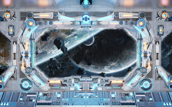 White spaceship interior with glowing blue and red lights. Futuristic spacecraft with large window view on planets in space. 3D rendering
