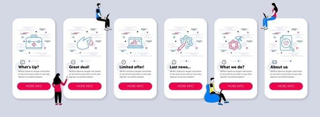 Obraz Vector Set of Science icons related to Blood donation, Coronavirus vaccine and Coronavirus spray icons. UI phone app screens with teamwork. Vector - fototapety do salonu