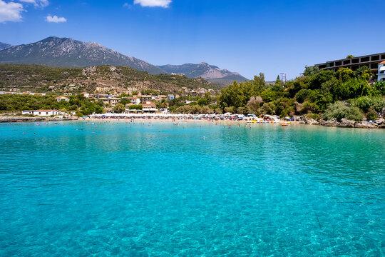 The beautiful, turquoise sea of Kalogira beach, Stoupa, Messenia, Greece, during summer time