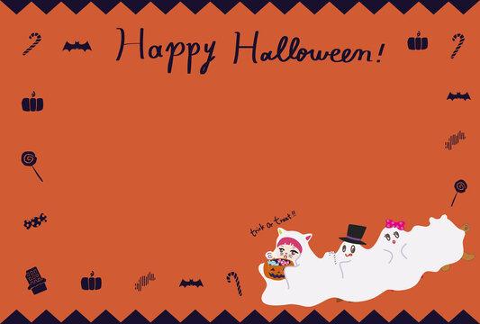 ハロウィンの仮装パーティのイラストのフレーム背景グラフィック素材