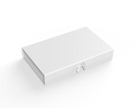 White blank hard cardboard gift box mock up template, 3d illustration