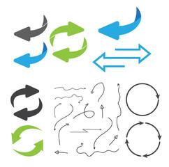 Fototapeta Rotating, circular, cyclic arrows. Recurrence sign. Flip over or turn arrow. Reverse sign obraz