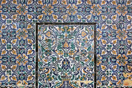 Ornate tiles in bazaar, Tripoli old town, Libya