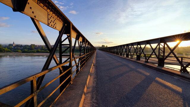 old metallic bridge of Pouilly-sur Loire village