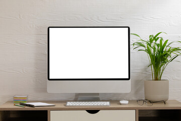 Composition of desktop computer with copy space on white background