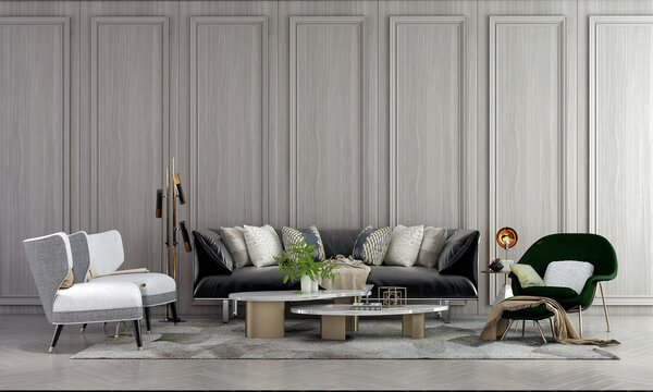 Home and decoration and cozy living room interior and empty wall texture background. 3D rendering