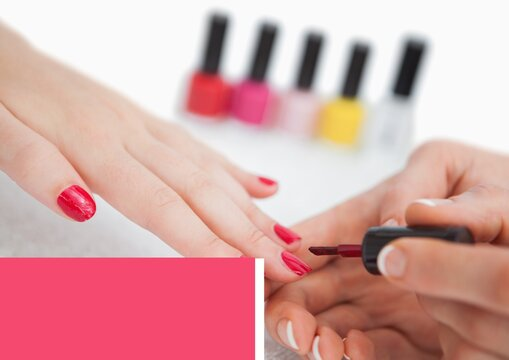 Pink banner with copy space against close up of woman applying nail paint
