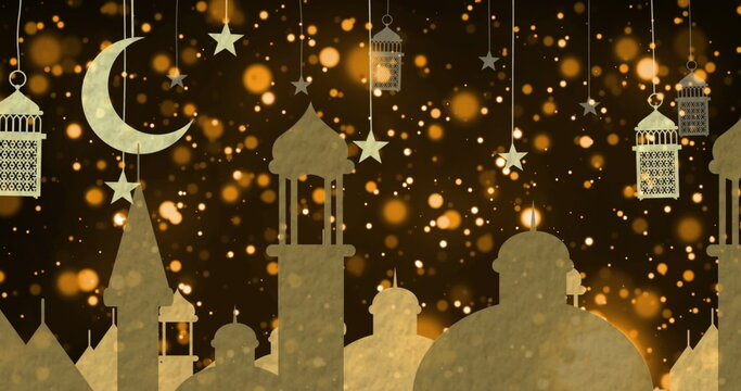 Image of golden arabic style rooftops, moon, lamps and stars with floating lights on black