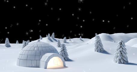 Digital image of snow falling over igloo on winter landscape against black background