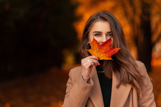 Happy beautiful woman in a fashionable beige coat and sweater covers her face with a colored autumn leaf in a park with orange fall foliage. Space for text