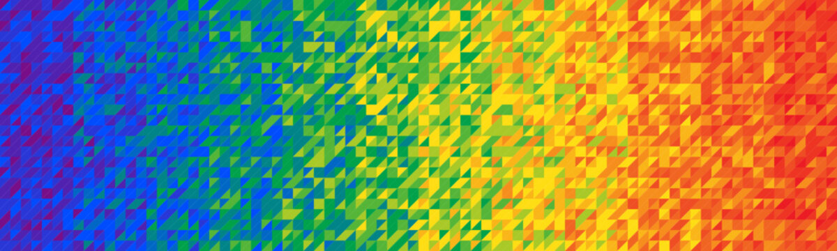 Wide vector background composed of tiny triangles with rainbow gradient
