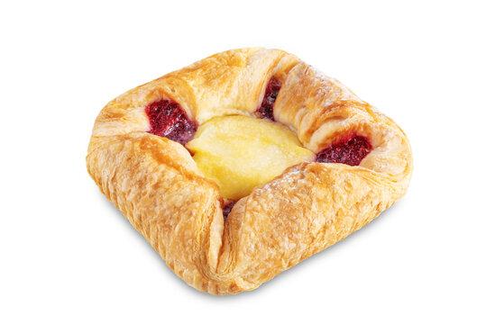 Vanilla cream raspberry jam sweet bun on a white isolated background