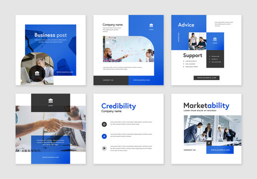 Blue Business Corporate Layouts for Social Media