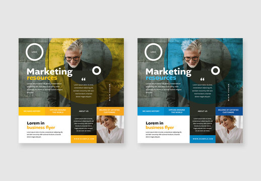 Business Posts with Blue and Yellow Accent