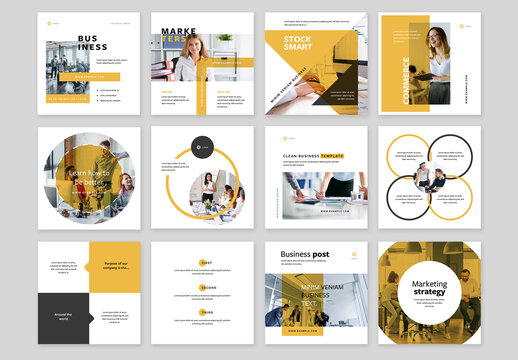 Clean Business Social Media Layouts with Yellow Accent