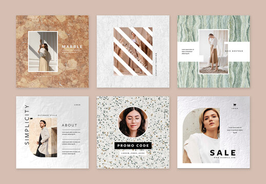 Marble Edition Layouts for Social Media