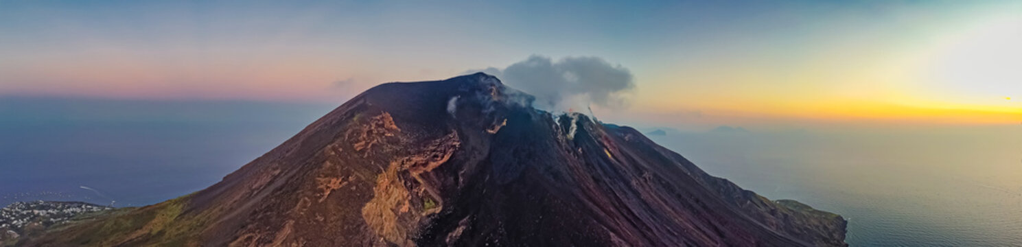 Beautiful view of the Stromboli volcano at sunset, Italy