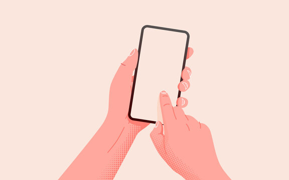 Holding phone in two hands. Empty screen, phone mockup. Editable smartphone template on isolated background.