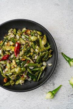 Nithya vazhuthana or Clove beans stir fry, overhead view