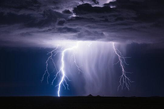 Lightning storm in the night sky