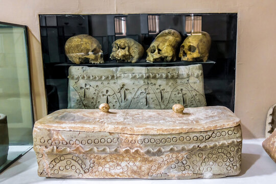 Central Asian antique ossuaries and skulls from burials of 6-8 centuries. Discovered at site of ancient Afrosiab, now they are displayed in museum of same name in Samarkand, Uzbekistan.