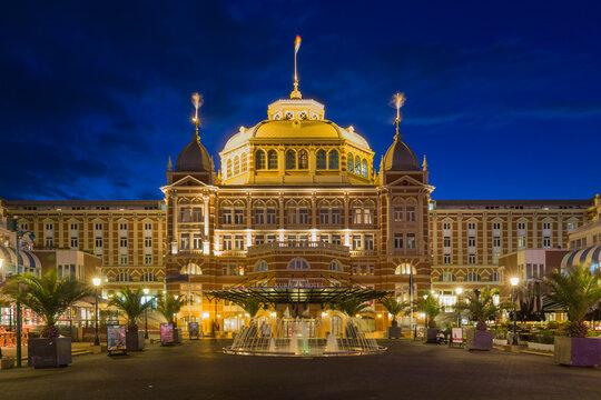 Night view of the famous Kurhaus hotel of Scheveningen, The Netherlands