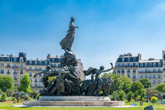 Paris, France, beautiful statue place de la Nation in the 11e district