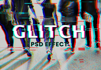 Fototapeta Anaglyph Glitch Effect with Group of Friends obraz