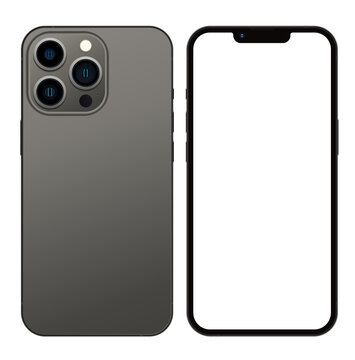 Anapa, Russian Federation - September, 14, 2021: New Graphite Color Iphone 13 Pro, Front and back side. Smartphone mock up with white screen. Illustration for app, web, presentation, design.
