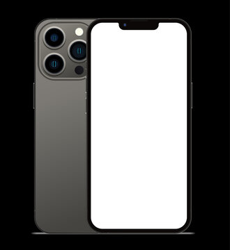 Anapa, Russian Federation - September, 14, 2021: New Graphite Color Iphone 13 Pro, Front and back side. Smartphone mock up with white screen one black background. Illustration for app, web, design.
