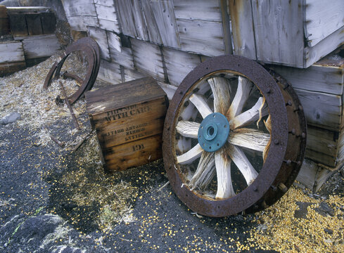 Antarctica historical huts Sir Ernest Shackleton's hut at Cape Royd  showing seed left behind and cart wheel