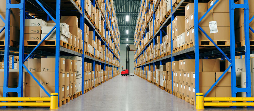 Warehouse with High Shelves and Loader. Logistics Concept. 3D illustration