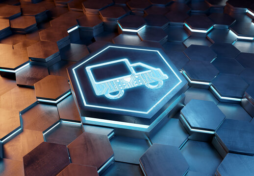 Delivery icon concept engraved on metal hexagonal pedestral background. Transport service logo glowing on abstract digital surface. 3d rendering
