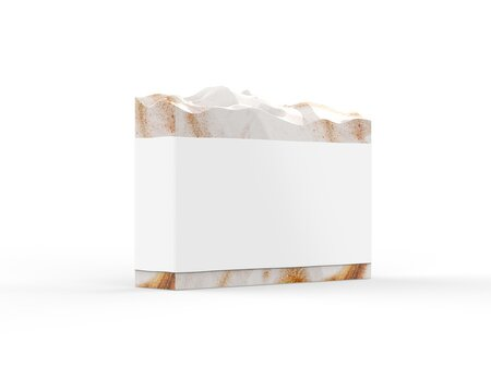 Hand crafted organic soap with blank label, handmade natural soap with sleeve mock up for design and branding, 3d illustration