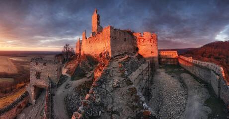 Fototapeta Ruins of Plavecky castle on the hill, Slovakia obraz
