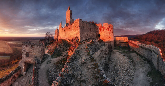 Ruins of Plavecky castle on the hill, Slovakia