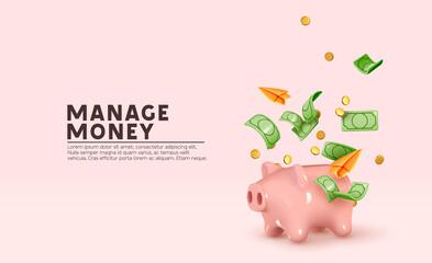 Obraz Money Piggy bank creative business concept. Realistic 3d design. Pink pig keeps gold coins. Safe finance investment. Financial services. Landing page template mockup for website. Vector illustration - fototapety do salonu
