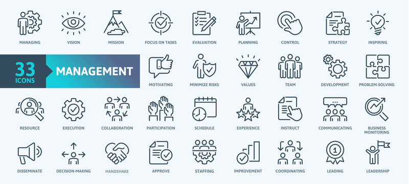 Business Management Outline Icon Collection. Thin Line Set contains such Icons as Vision, Mission, Values, Human Resource, Experience and more. Simple web icons set.