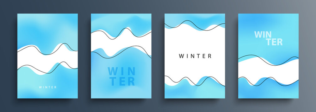 Winter backgrounds with various dynamic wavy shapes and black outlines for your creative graphic design. Winter season collection. Vector illustration.