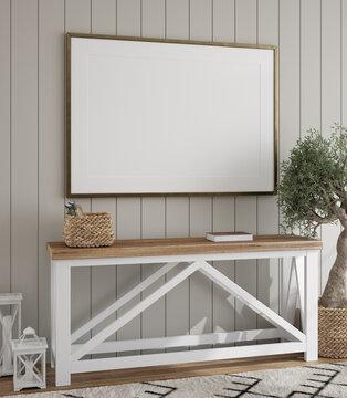 Mockup frame in farmhouse living room interior, 3d render