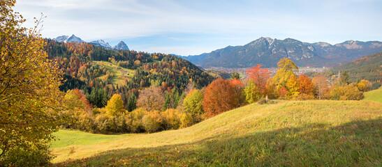 stunning autumn landscape Garmisch, view from hiking trail Wamberg to Eckbauer, bavaria in october
