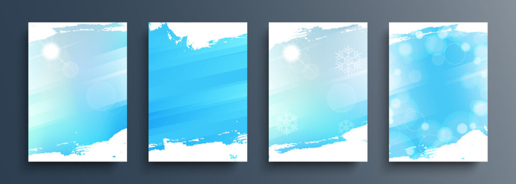 Winter backgrounds set with winter sun and brush strokes for your graphic design. Winter season collection. Vector illustration.