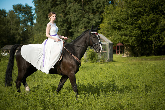 Beautiful portrait of woman bride with horse