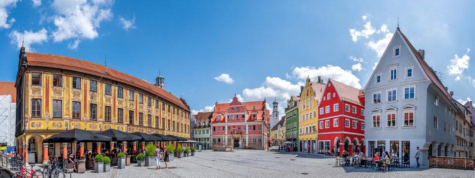 Marktplatz Panorama, Memmingen, Bayern, Deutschland